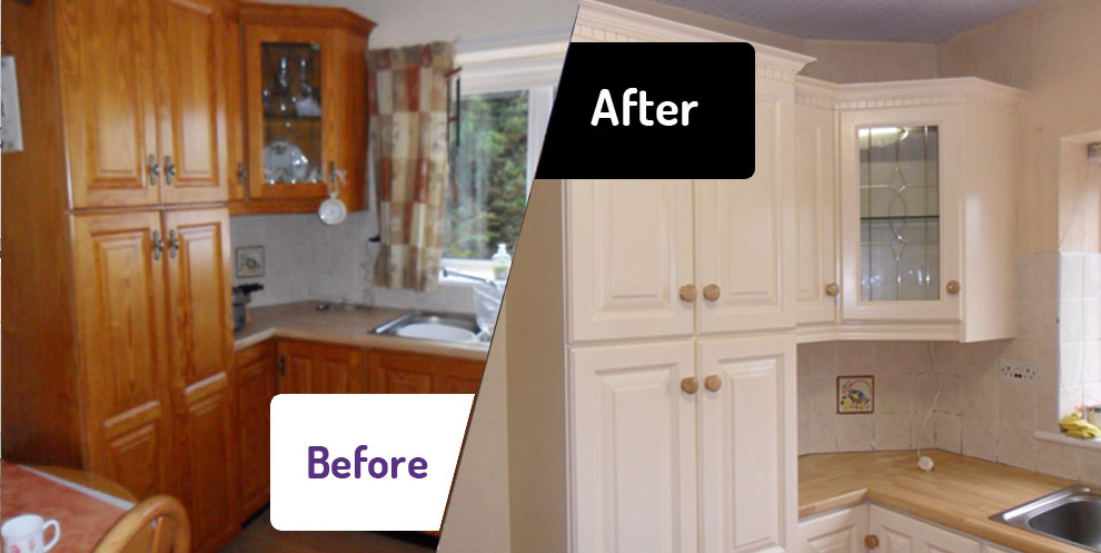 The kitchen facelift company the kitchen facelift for Spray painting kitchen cabinets