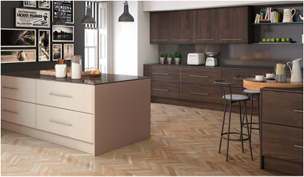 burnt oak and matt cashmere reflects the trend for natural timber affects with a natural earth colour to create a personalised kitchen scheme
