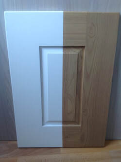 Spray painted wooden kitchen door